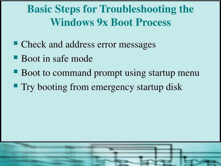 Basic Steps for Troubleshooting the Windows 9x Boot Process