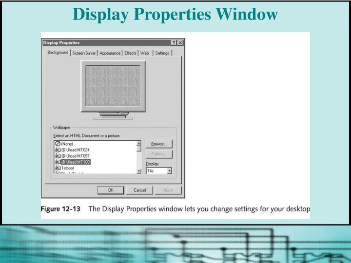 Display Properties Window