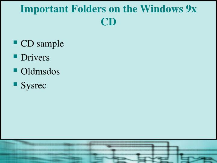 Important Folders on the Windows 9x CD