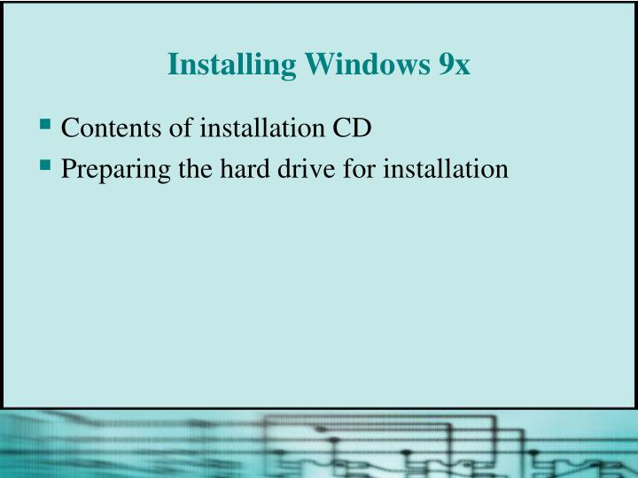 Installing Windows 9x