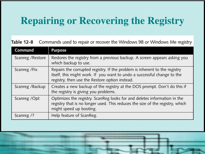 Repairing or Recovering the Registry