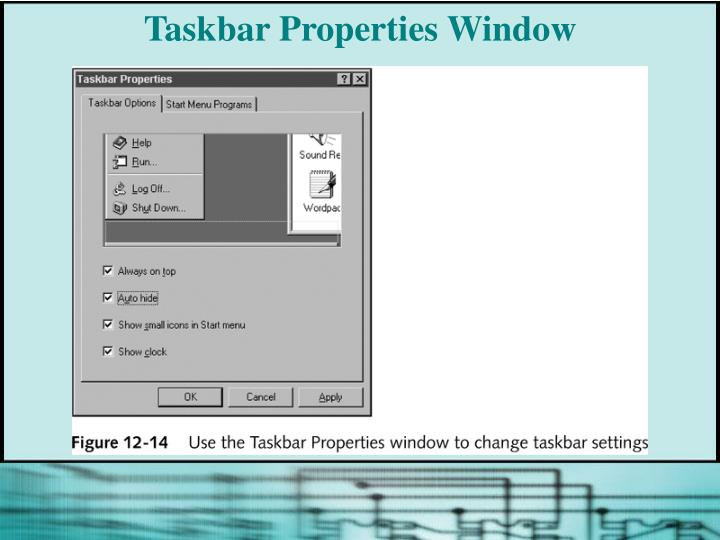 Taskbar Properties Window