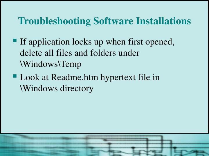 Troubleshooting Software Installations