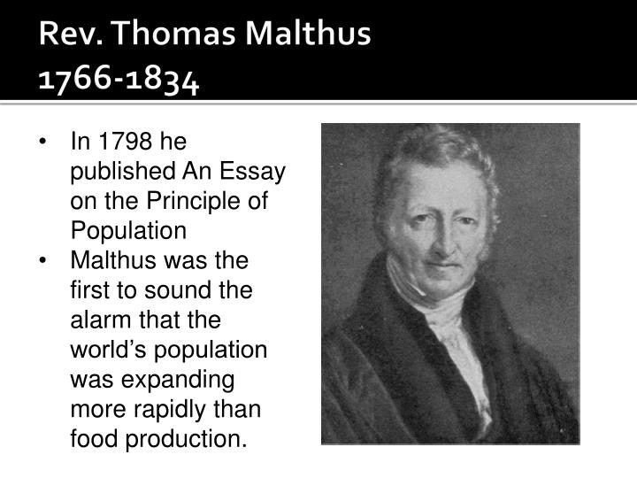 malthus r. 1798. an essay on the principle of population