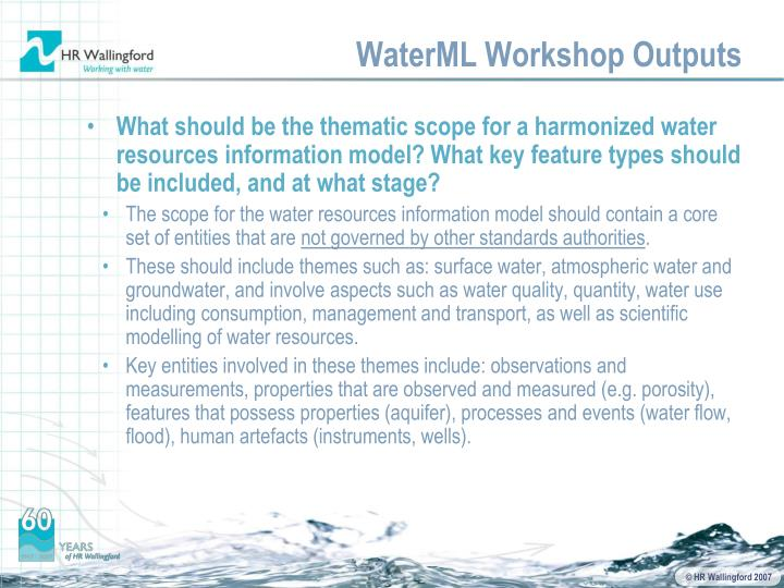 WaterML Workshop Outputs