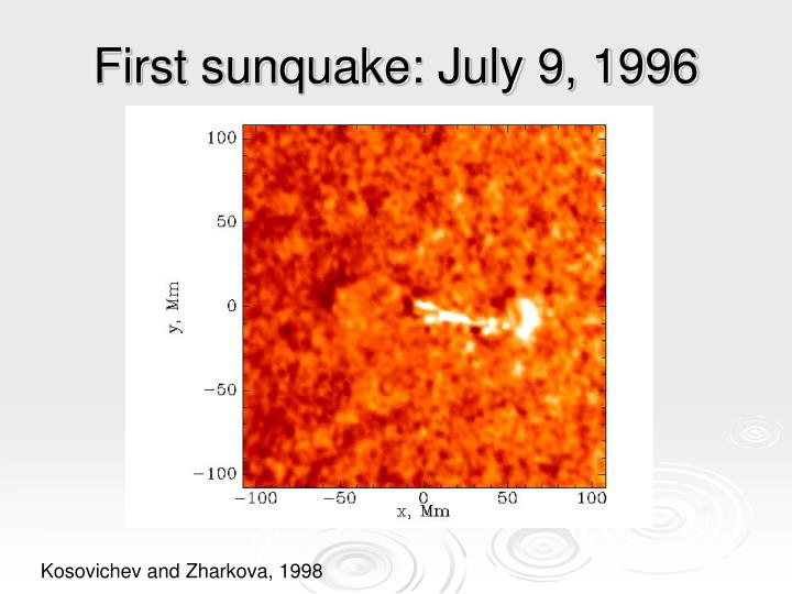 First sunquake july 9 1996