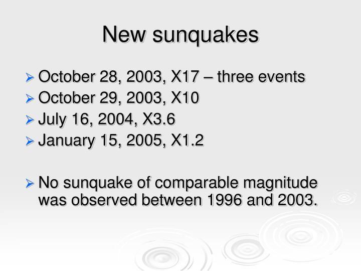 New sunquakes