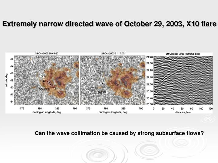Extremely narrow directed wave of October 29, 2003, X10 flare
