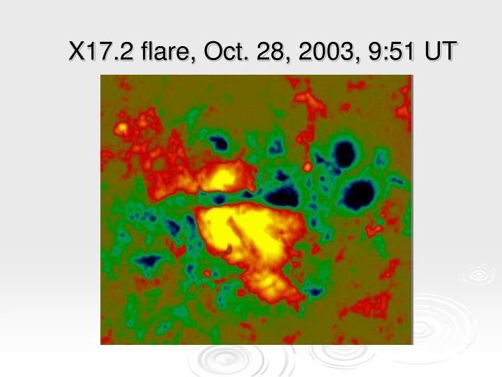 X17.2 flare, Oct. 28, 2003, 9:51 UT