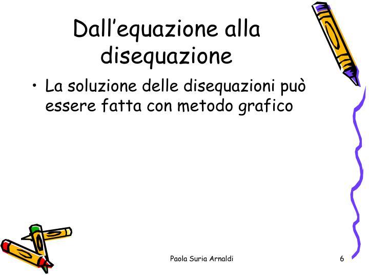 Dall'equazione alla disequazione