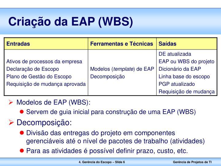 Criação da EAP (WBS)