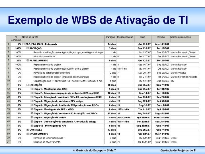 Exemplo de WBS de Ativação de TI