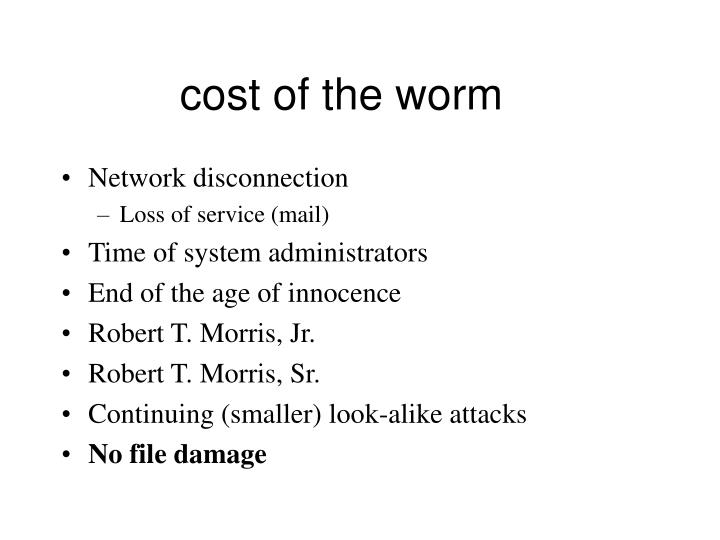 cost of the worm