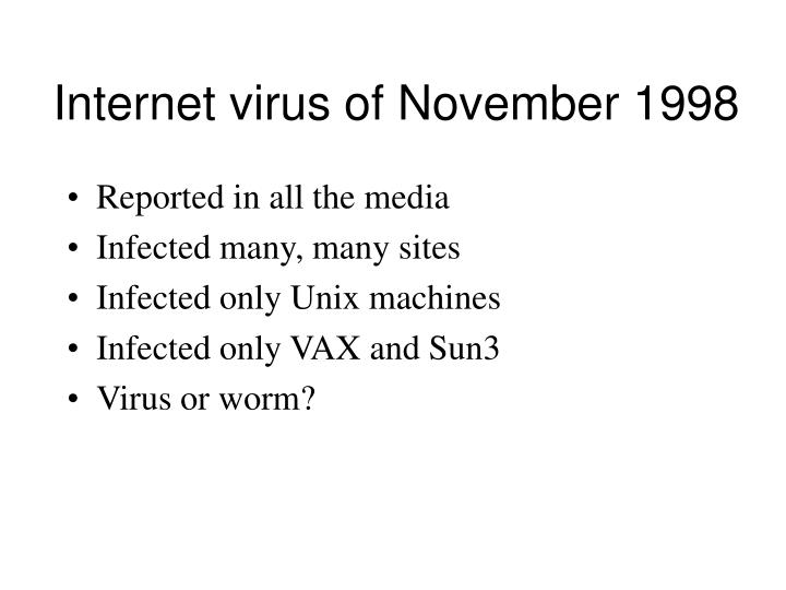 internet virus of november 1998