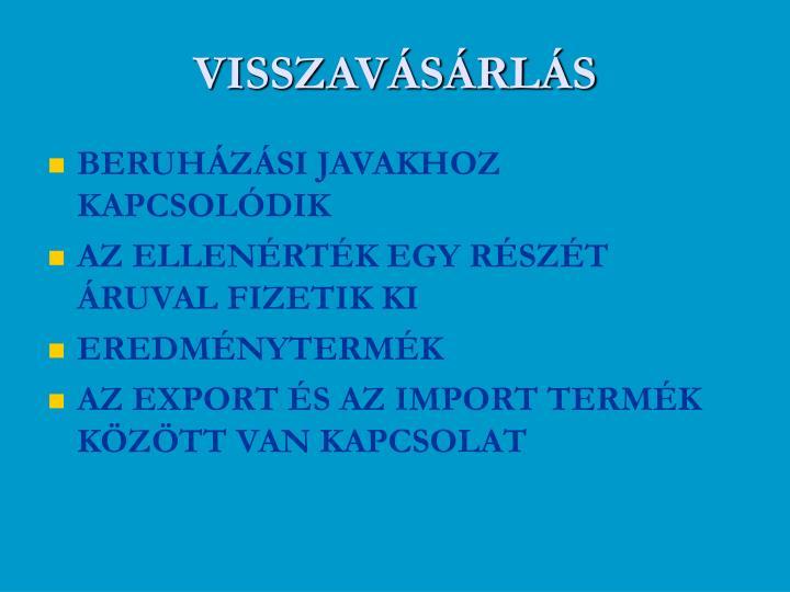 VISSZAVÁSÁRLÁS