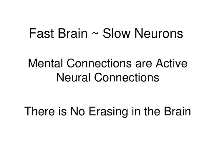 Fast Brain ~ Slow Neurons