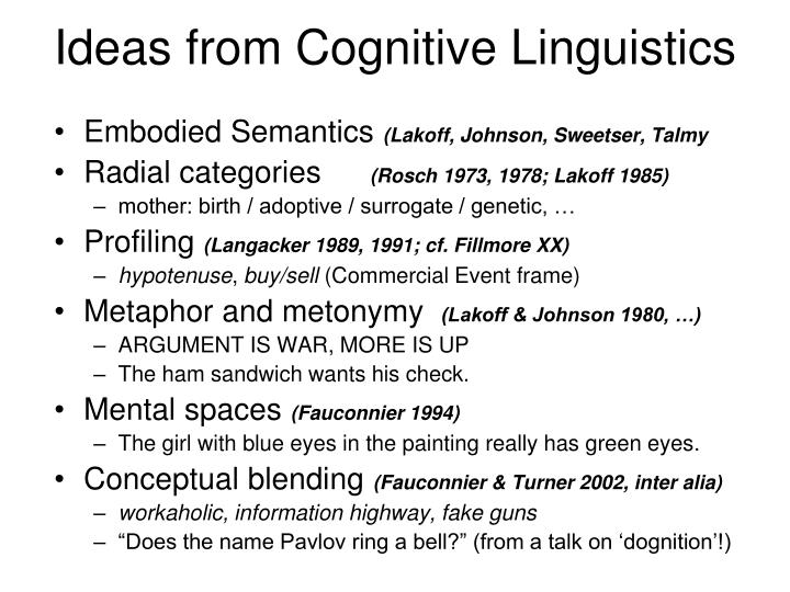 Ideas from Cognitive Linguistics
