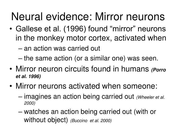Neural evidence: Mirror neurons