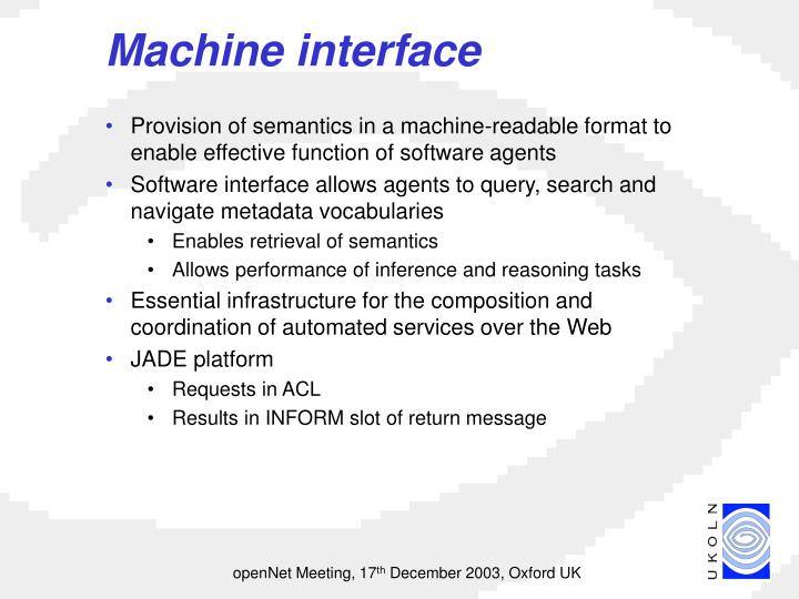 Machine interface