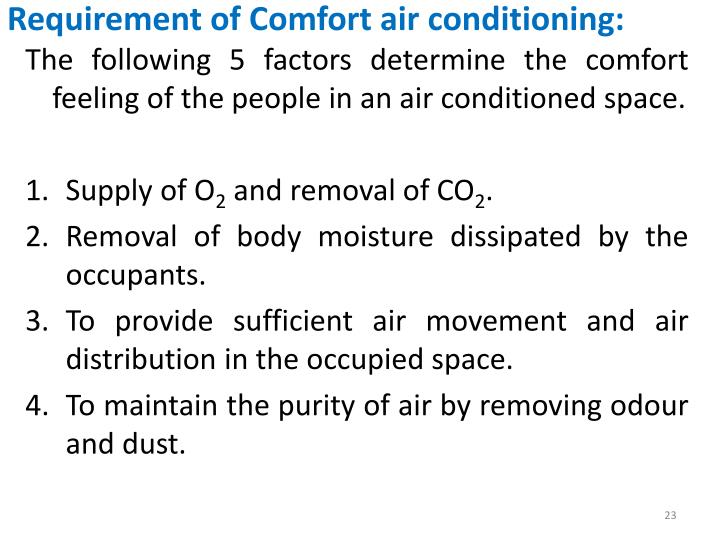 Requirement of Comfort air conditioning: