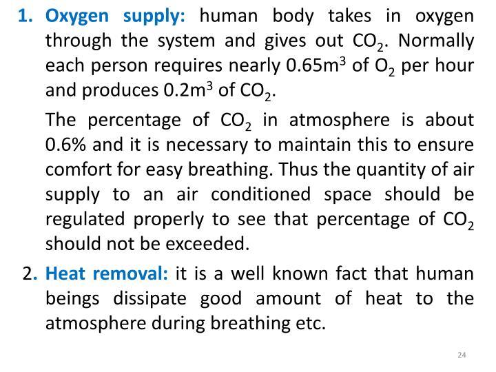 Oxygen supply: