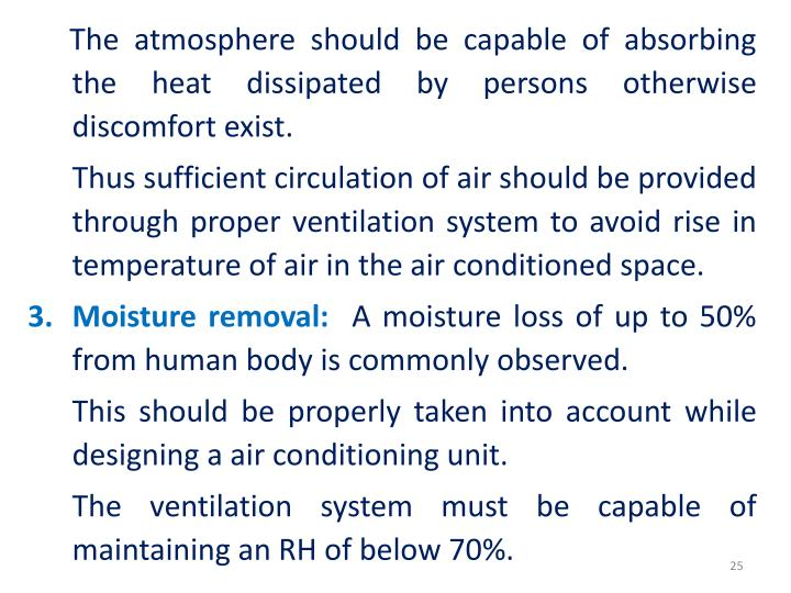 The atmosphere should be capable of absorbing the heat dissipated by persons otherwise discomfort exist.