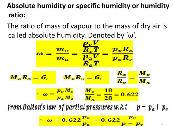 Absolute humidity or specific humidity or humidity ratio: