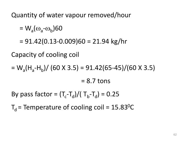 Quantity of water vapour removed/hour