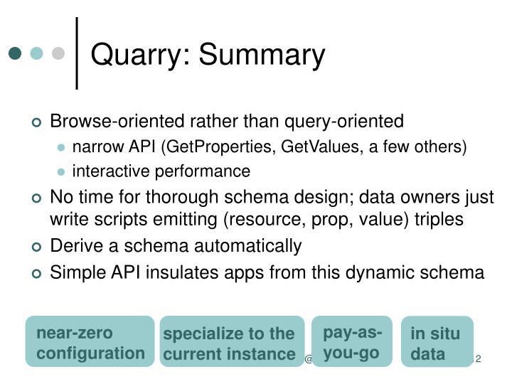 Quarry: Summary