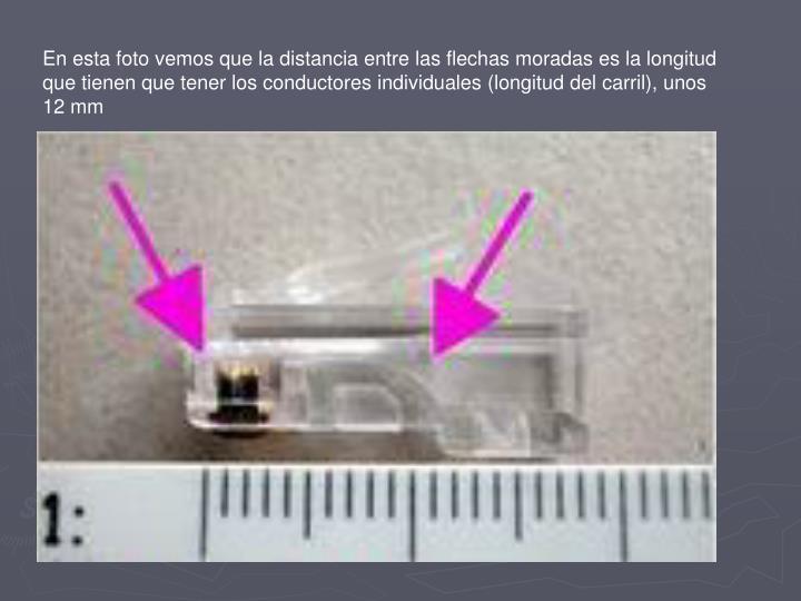 En esta foto vemos que la distancia entre las flechas moradas es la longitud que tienen que tener los conductores individuales (longitud del carril), unos 12 mm