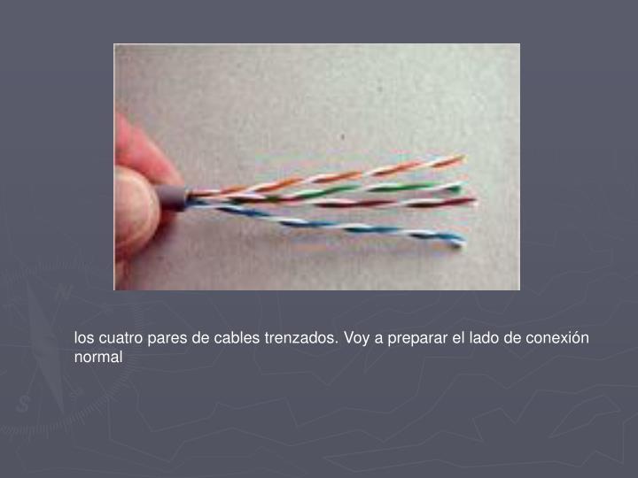 los cuatro pares de cables trenzados. Voy a preparar el lado de conexión normal