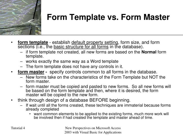 Form Template vs. Form Master