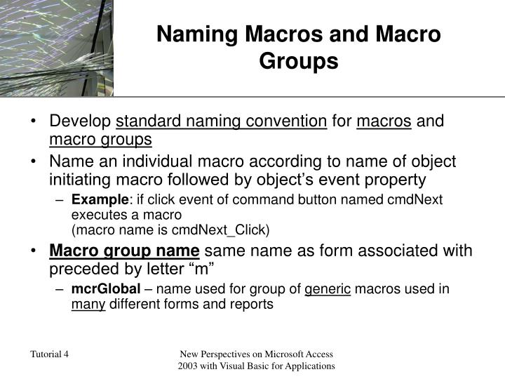 Naming Macros and Macro Groups