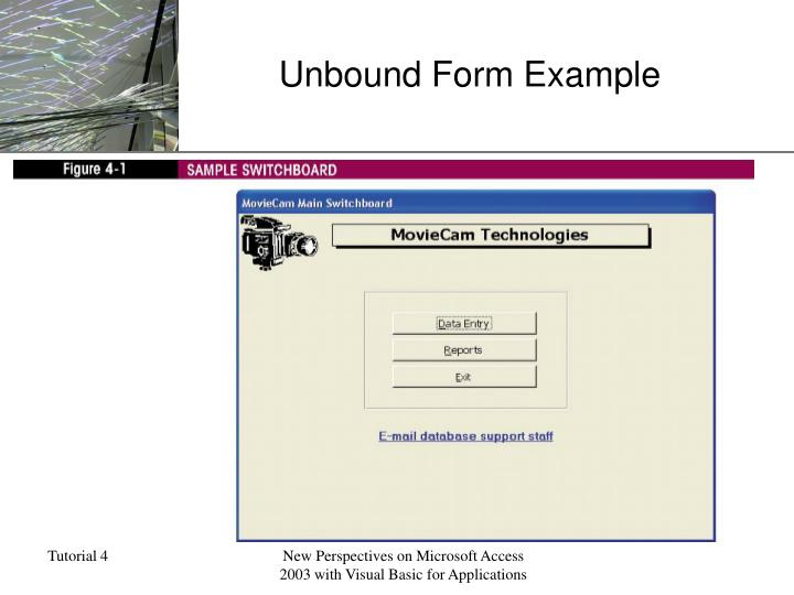 Unbound form example