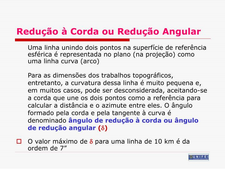 Redução à Corda ou Redução Angular