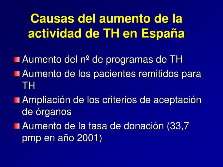Causas del aumento de la actividad de TH en España