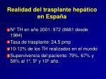 realidad del trasplante hep tico en espa a