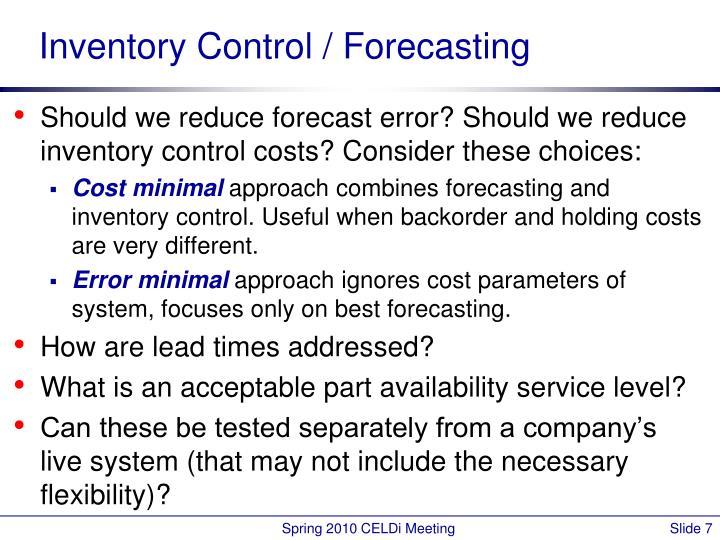 Inventory Control / Forecasting