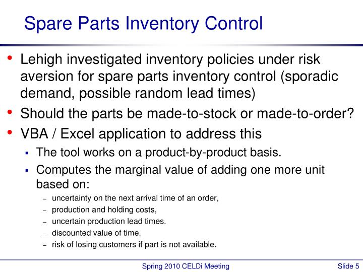 Spare Parts Inventory Control