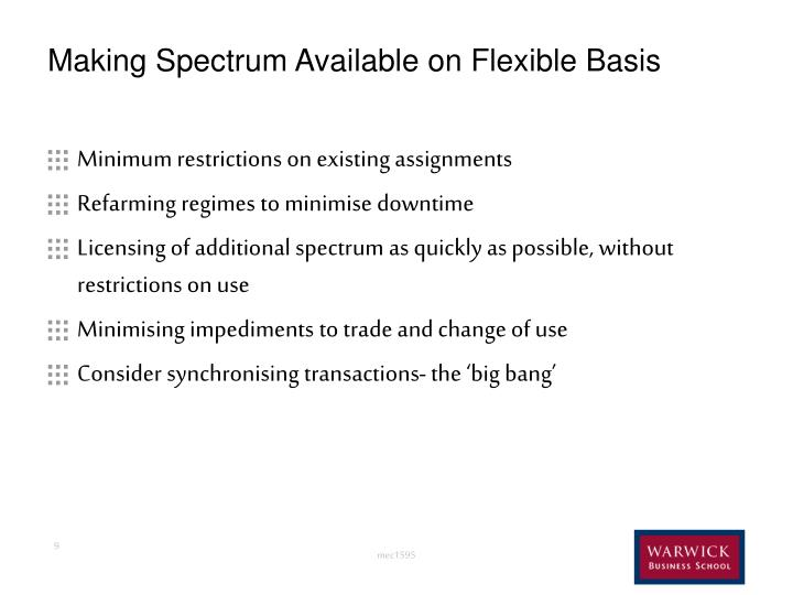 Making Spectrum Available on Flexible Basis