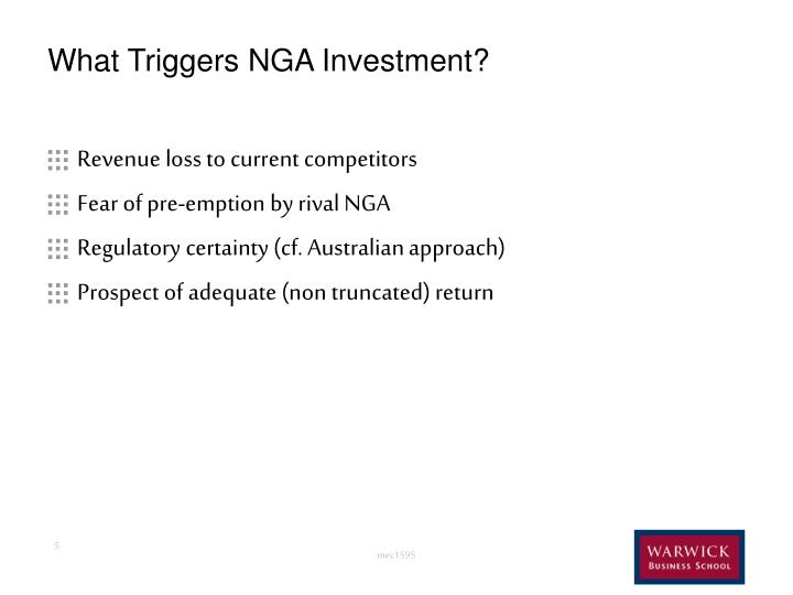 What Triggers NGA Investment?