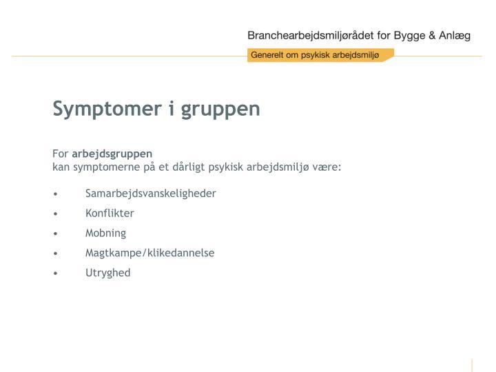 Symptomer i gruppen