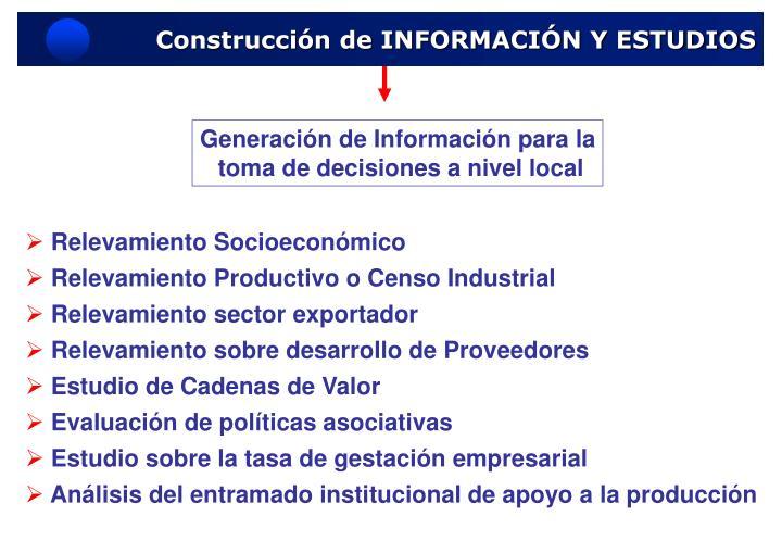 Construcción de INFORMACIÓN Y ESTUDIOS