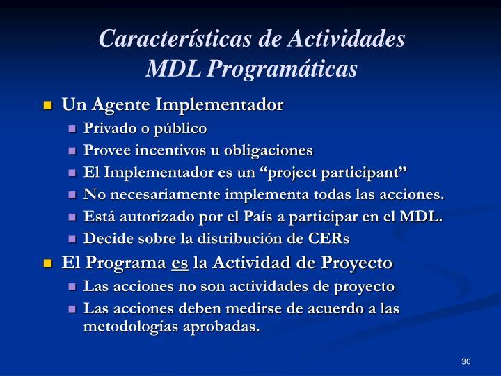 Características de Actividades
