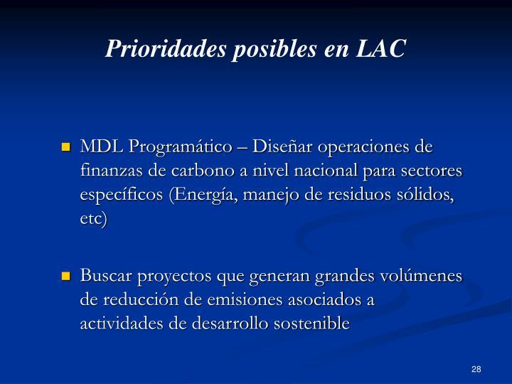 Prioridades posibles en LAC