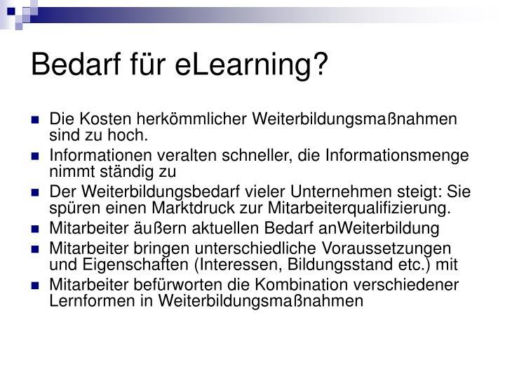 Bedarf für eLearning?