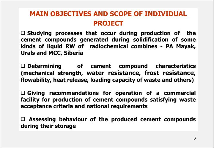 MAIN OBJECTIVES AND SCOPE OF INDIVIDUAL PROJECT
