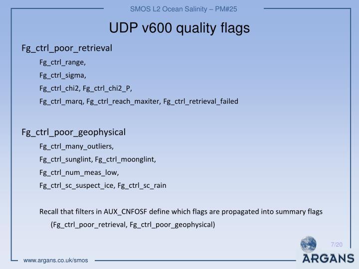 UDP v600 quality flags