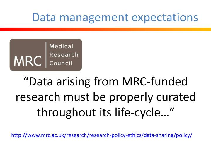 Data management expectations