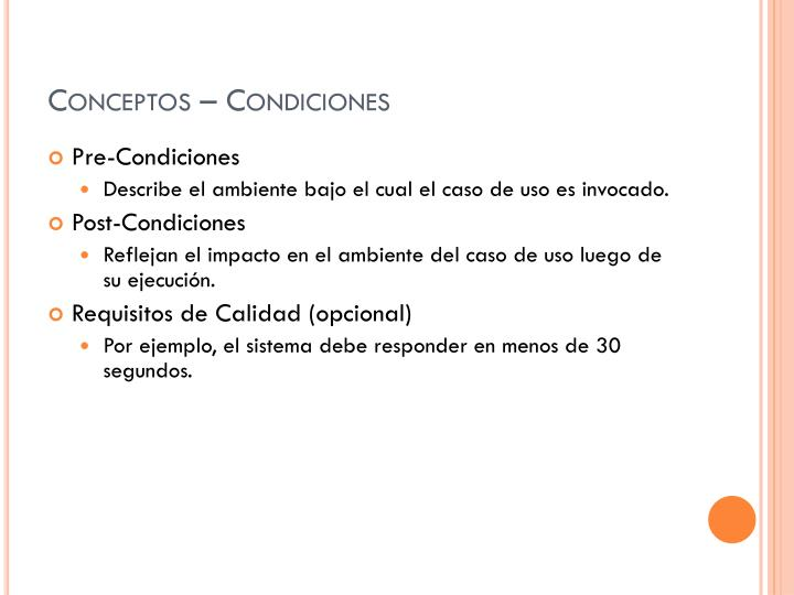 Conceptos – Condiciones